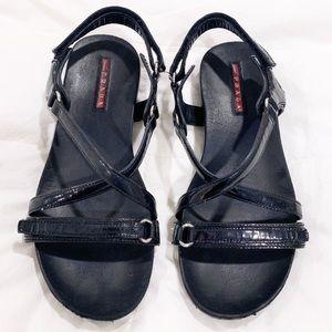 Prada Linea Rosa Criss Cross Sandals